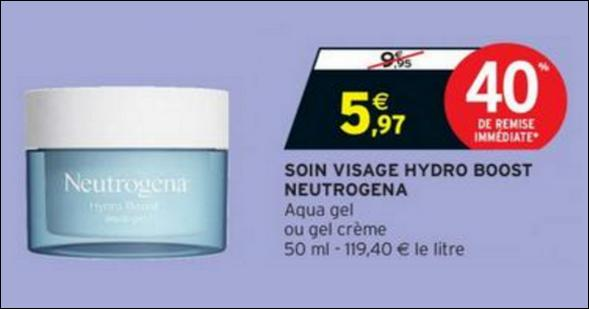 Bon Plan Soin Visage Hydro Boost Neutrogena chez Intermarché - anti-crise.fr