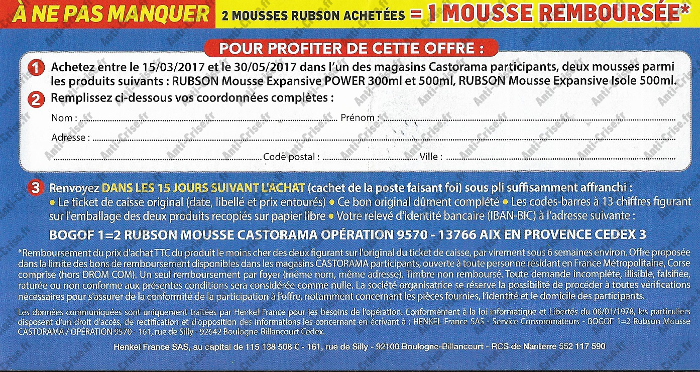offre de remboursement rubson 2 mousses expansives achet es 1 mousse 100 rembours e chez. Black Bedroom Furniture Sets. Home Design Ideas