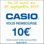 Offre de Remboursement Casio : 10€ Remboursé sur Calculatrice Graph 35+E - anti-crise.fr