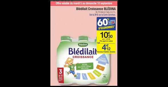 Bon Plan Blédilait Croissance Blédina chez Carrefour - anti-crise.fr