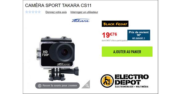 Bon Plan Electro Depot Caméra Sport Takara à 1