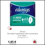 Bon Plan Serviettes Always Ultra Partout - anti-crise.fr