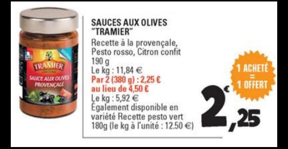 Bon Plan Sauce aux Olives Tramier chez Leclerc - anti-crise.fr