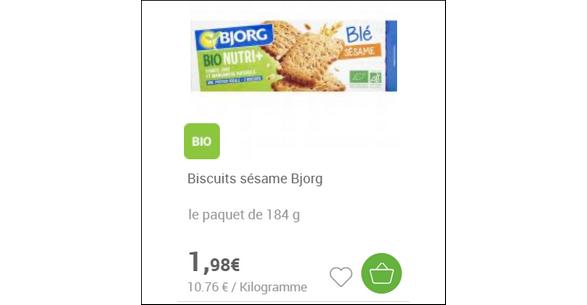 Bon Plan Biscuits Sésame Nutri+ Bjorg chez Carrefour - anti-crise.fr