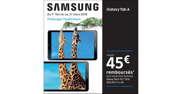 offre de remboursement samsung jusqu 39 45 rembours s sur tablette galaxy tab a catalogues. Black Bedroom Furniture Sets. Home Design Ideas