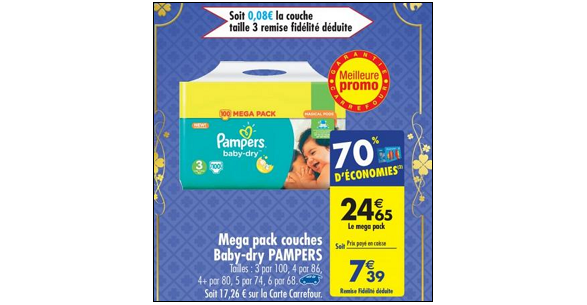 Bon plan couches pampers baby dry chez carrefour 27 02 05 03 catalogues promos bons - Promo couche pampers carrefour ...