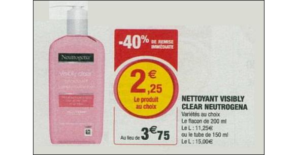 Bon Plan Soin Neutrogena Visibly Clear Pamplemousse Rose chez Magasins U - anti-crise.fr