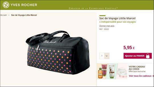 68cc8e5ad6 Actuellement, sur le site Yves Rocher, pour toute commande, vous avez la  possibilité d'ajouter à votre panier un Sac de Voyage Little Marcel à 5,95€  au lieu ...