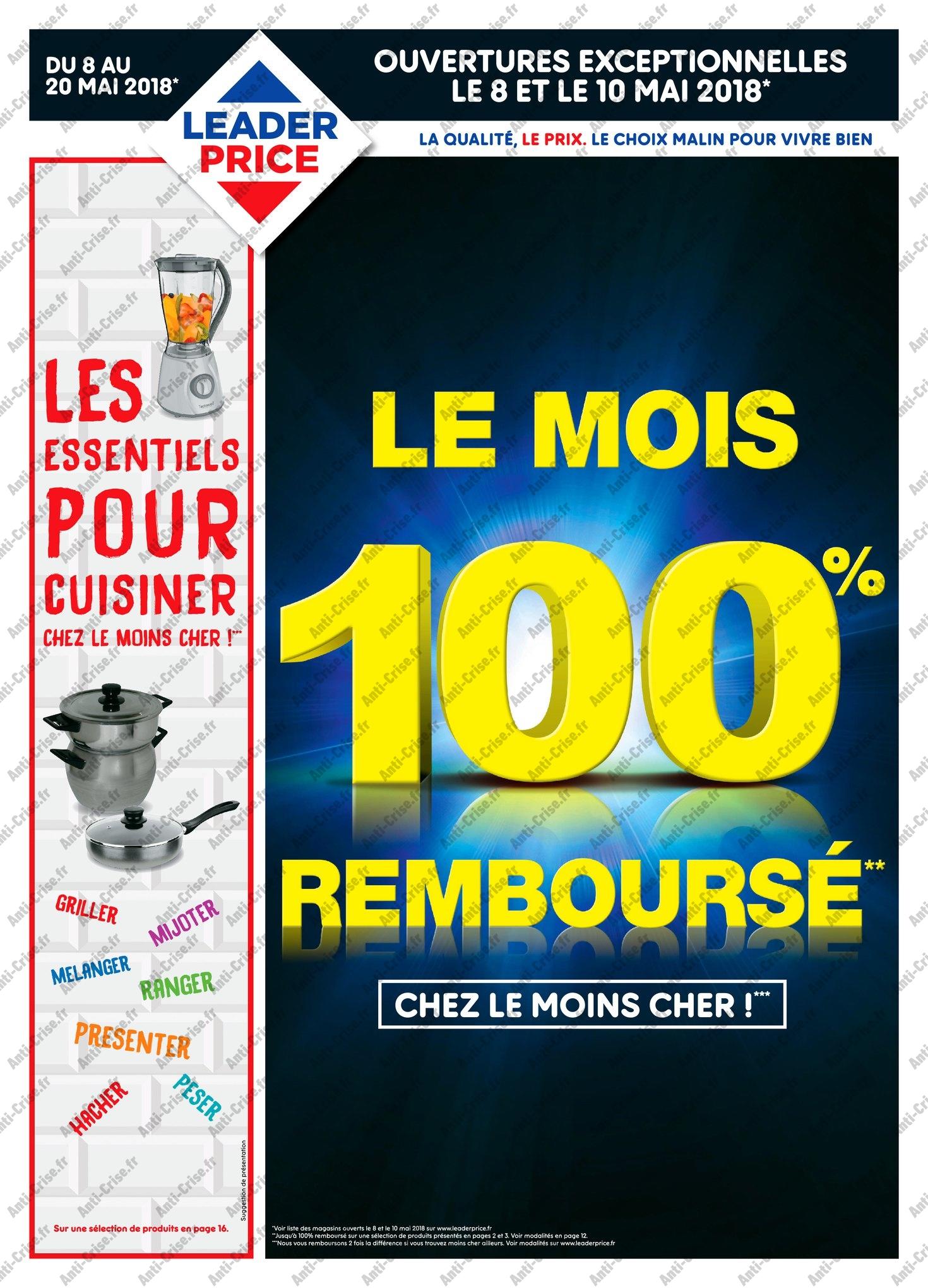 Catalogue Leader Price du 8 au 20 mai 2018 (Le Mois 100% Remboursé Vague 1) (1)