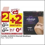Bon Plan Culottes Always Discreet Boutique chez Casino (02/05 - 13/05) - anti-crise.fr