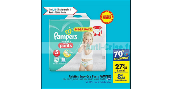 Bon plan couches pampers baby dry pants chez carrefour 15 05 21 05 - Promo couche pampers carrefour ...