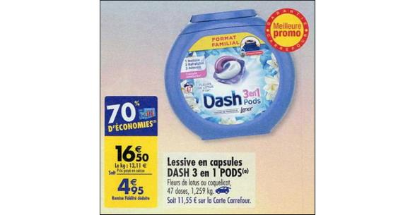 Bon Plan Lessive Dash Pods 3en1 chez Carrefour - anti-crise.fr