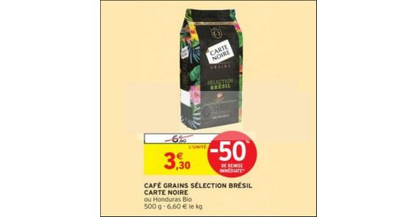 Bon Plan Café en Grains Brésil ou Honduras Carte Noire chez Intermarché - anti-crise.fr