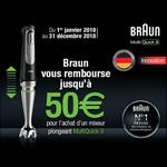 Offre de Remboursement Braun : 50€ Remboursés sur Mixeur Plongeant MultiQuick 9 - anti-crise.fr