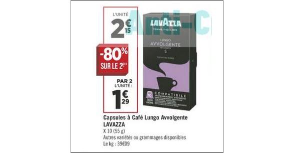 Bon Plan Capsules de Café Espresso Lavazza chez Géant Casino - anti-crise.fr