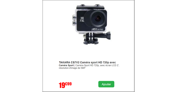 Bon Plan Cdiscount : Caméra Sport Takara à 1€ - anti-crise.fr