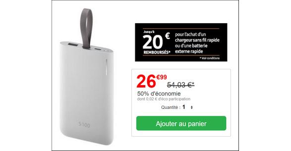 Bon Plan Batterie Externe Samsung à 6,99€ sur Cdiscount - anti-crise.fr