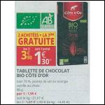 Bon Plan Tablette de Chocolat Noir Bio Côte D'Or chez Auchan Supermarché (29/08 - 09/09) - anti-crise.Fr