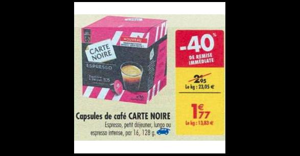bon plan capsules de caf carte noire compatibles dolce gusto chez carrefour 04 09 10 09. Black Bedroom Furniture Sets. Home Design Ideas
