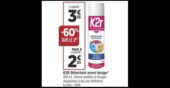 Bon Plan Détachant K2R chez Géant Casino (21/08 - 31/08) - anti-crise.fr
