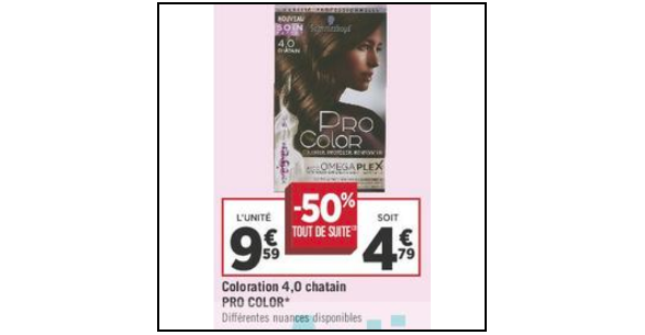 Bon Plan Coloration Pro Color de Schwarzkopf chez Géant Casino (18/09 - 30/09) - anti-crise.fr