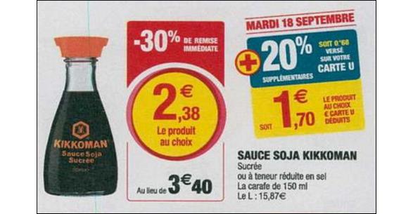 Bon Plan Sauce Kikkoman chez Magasins U - anti-crise.fr