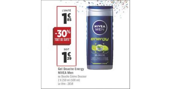 Bon Plan Gel douche Men Nivea chez Géant Casino - anti-crise.fr