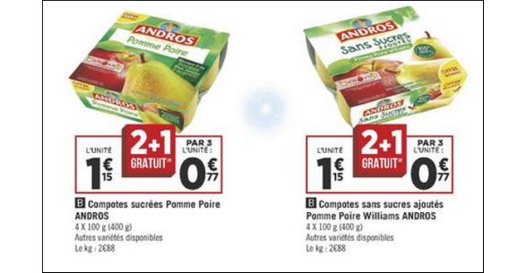 Bon Plan Desserts Fruitiers Andros chez Géant Casino - anti-crise.fr
