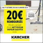 Offre de Remboursement Kärcher : 20€ Remboursés sur Nettoyeur Vapeur EasyFix - anti-crise.fr