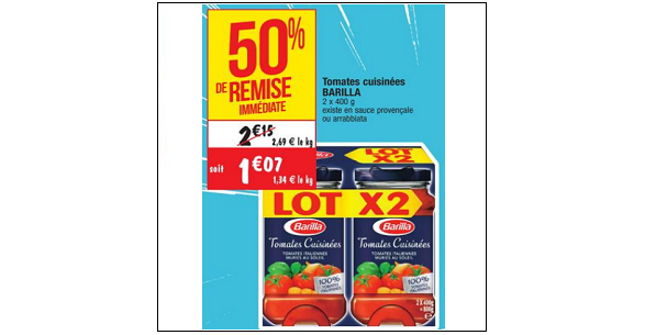 Bon Plan Sauce Barilla chez Cora (18/09 - 24/09) - anti-crise.fr