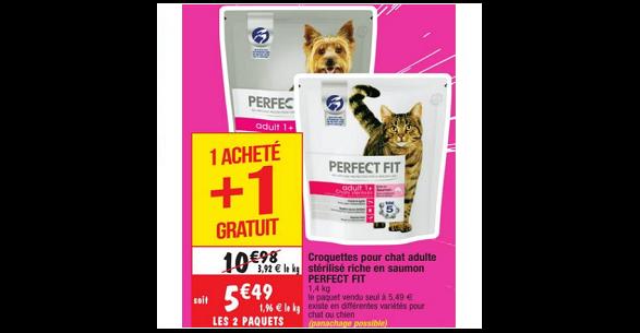 Bon Plan Croquettes pour Chat ou Chien Perfect Fit chez Cora (25/09 - 01/10) - anti-crise.fr