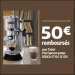 Offre de Remboursement Delonghi : 50€ Remboursés sur Espresso Pompe DEDICA STYLE EC 695 - anti-crise.fr
