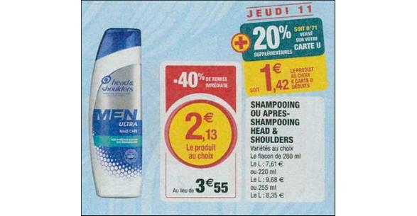 Bon Plan Shampooing Head & Shoulders chez Magasins U - anti-crise.fr