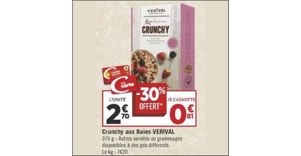 Bon Plan Céréales Bio Verival chez Géant Casino - anti-crise.fr