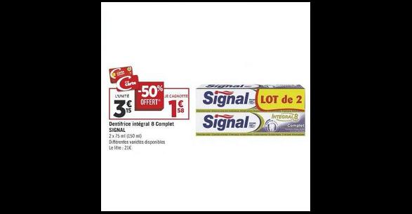 Bon Plan Dentifrice Signal Integral 8 chez Géant Casino (16/10 - 26/10) - anti-crise.Fr