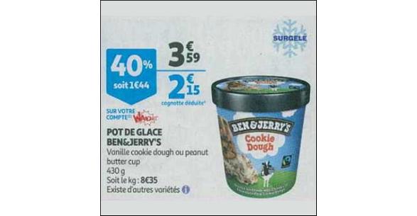 Bon Plan Crème Glacée Ben & Jerry's chez Supermarché Auchan - anti-crise.fr