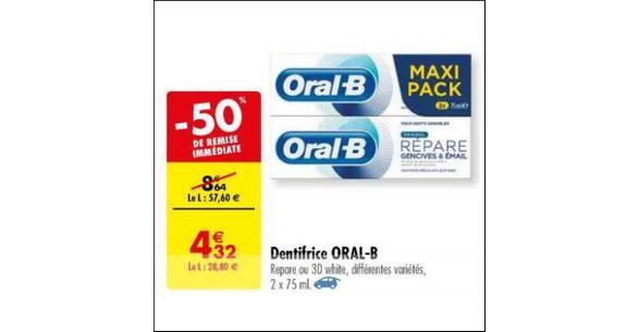Bon Plan Dentifrice Oral-B chez Carrefour - anti-crise.fr