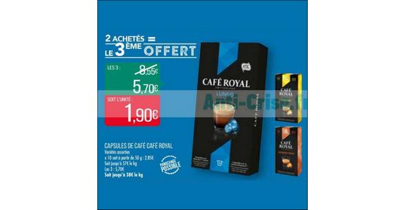 Bon Plan Capsules Café Royal Compatibles Nespresso chez Match - anti-crise.fr