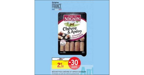 Bon Plan Mini bûchettes Chèvre & Apéro Soignon chez Intermarché - anti-crise.fr