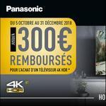 Offre de Remboursement Panasonic : Jusqu'à 300€ Remboursés sur Téléviseur 4K HDR - anti-crise.fr