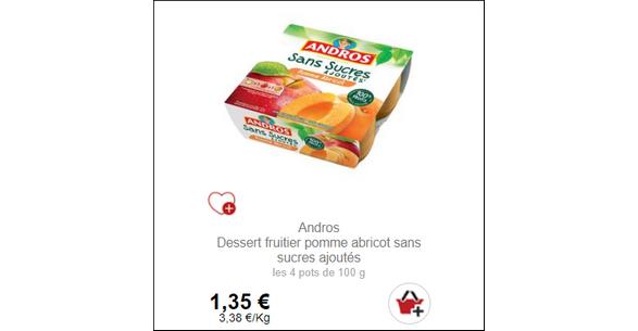 Bon Plan Dessert Fruitier Sans Sucres Ajoutés Andros Partout - anti-crise.fr