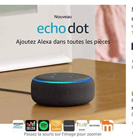 34,99€ l'enceinte connectée Amazon Echo Dot 3eme génération au lieu de 59.99€