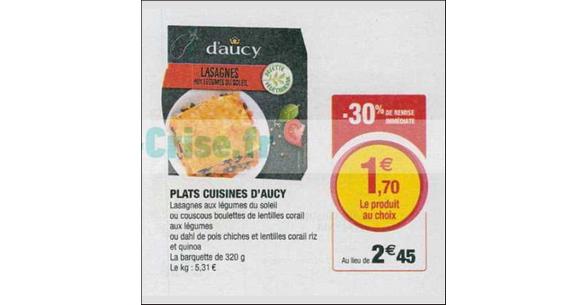 Bon Plan Plat Végétarien D'Aucy ches Magasins U - anti-crise.fr