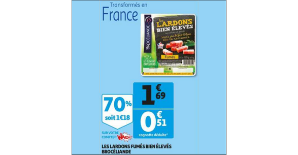 Bon Plan Lardons Fumés Bien Elevés Brocéliande chez Auchan - anti-crise.fr