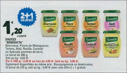 Bon Plan Sauce Benedicta chez Leclerc Nord-Est - anti-crise.fr