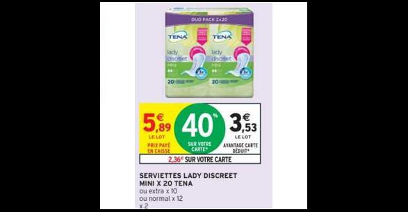 Serviettes Lady Discreet Tena chez Intermarché Hyper (18/12 - 31/12) - anti-crise.fr