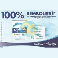 Offre de Remboursement Always/Tampax : Serviettes Sensitive Essentials ou Tampons Cotton Comfort 100% Remboursé