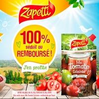 Offre de Remboursement Zapetti : Sauce Ma Tomate Cuisinée Séduit ou 100% Remboursé