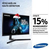 Offre de Remboursement Samsung : Jusqu'à 15% Remboursés sur Moniteur Incurvé ou UHD