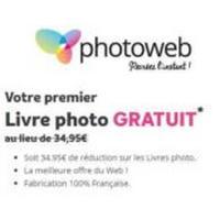 Un livre photo gratuit avec Photoweb (3.99€ de frais de port)